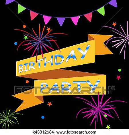 Drawings of birthday party means greetings celebrating 3d drawing birthday party means greetings celebrating 3d illustration fotosearch search clip art illustrations m4hsunfo