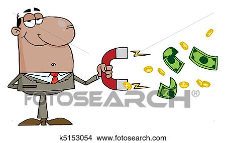 clipart of black businessman collecting money k5153054 search clip
