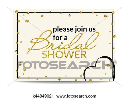 clipart bridal shower invitation with gold glitter text and dots fotosearch search clip