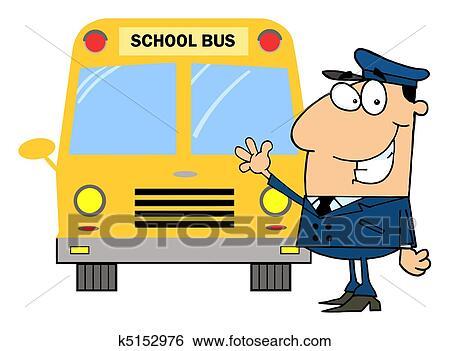 clip art of driver in front of school bus k5152976 search clipart rh fotosearch com School Bus Clip Art in Motion School Buses Clip Art