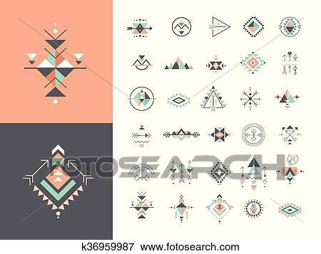Clip Art Of Esoteric Alchemy Sacred Geometry Tribal And Aztec