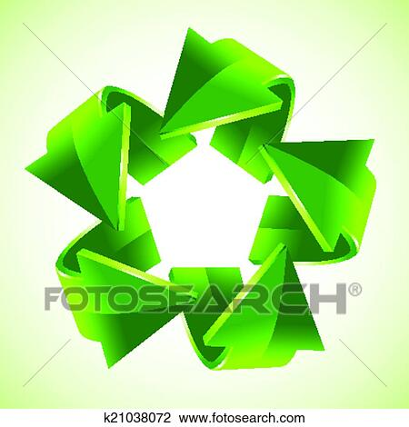Clipart Of Five Green Recycling Arrows K21038072 Search Clip Art
