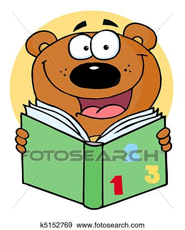 clip art of happy bear reading a book k5152769 search clipart