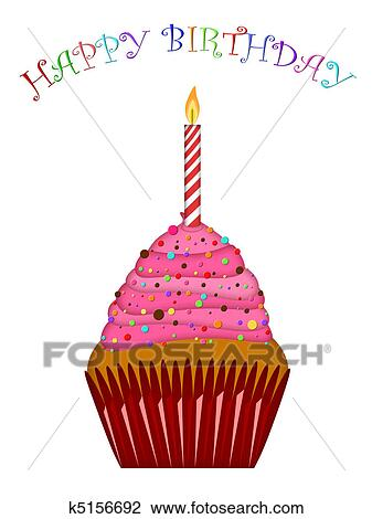 Clip Art Of Happy Birthday Cupcake With Pink Frosting And Candle