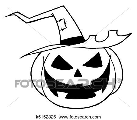 Jack O Lantern Wearing A Witch Hat Clip Art K5152826