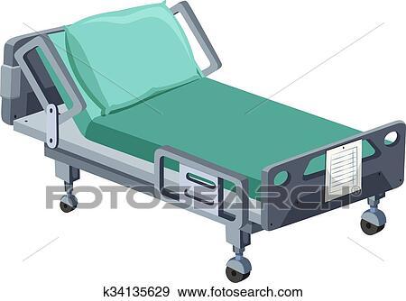 Letto ospedale, con, ruote Clip Art