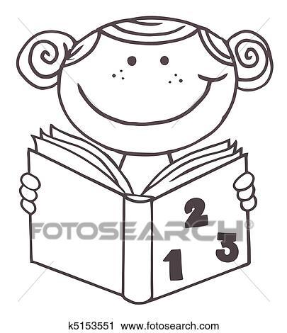 Clipart - mädchen lesen, a, mathe, buch k5153551 - Suche Clip Art ...