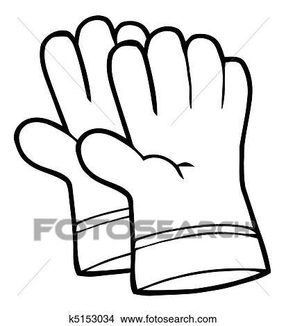Outline Gardening Hand Gloves Clipart