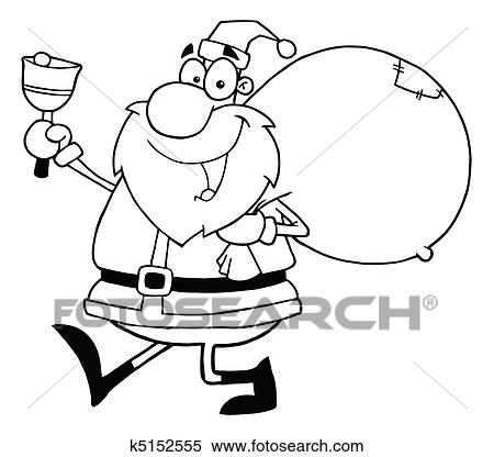 outlined jolly santa holding a sack over his shoulder walking and ringing a bell
