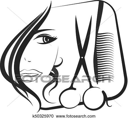clipart of profile girls for beauty and hair salon k50325970 rh fotosearch com beauty salon clipart beauty salon cartoon clipart