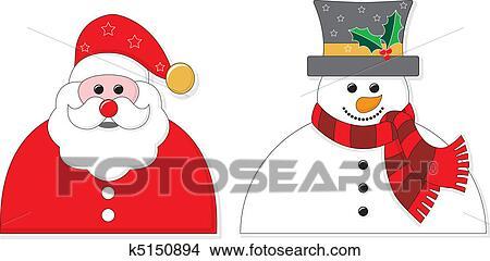 Bonhomme Graphique clipart - santa, et, bonhomme de neige, graphique k5150894