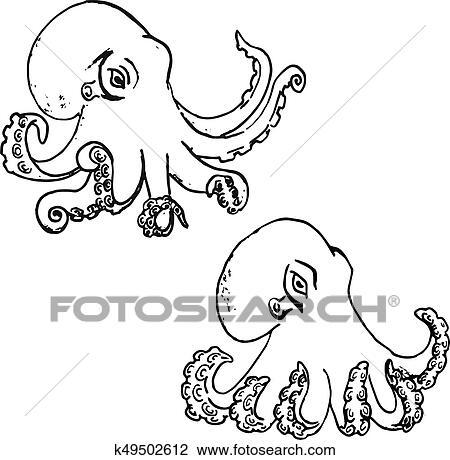 Clipart Set Di Mano Disegnato Polpo Isolato Bianco Fondo