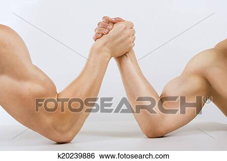Stock Images of Two muscular hands clasped arm wrestling k20239886 ...