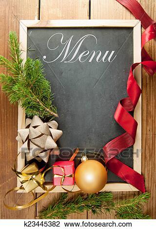 Weihnachten Fotorahmen.Weihnachten Menükarte Rahmen Stock Bild