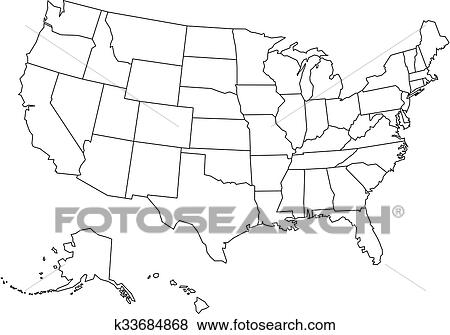 Blank outline map of USA Clip Art