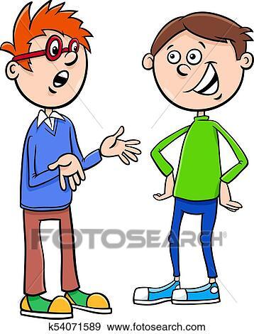 Boys Kid Characters Talking Cartoon Illustration Clip Art