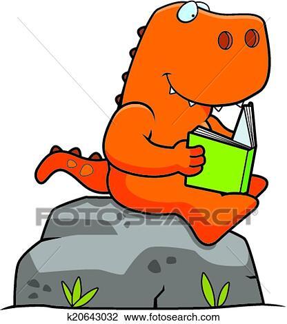 clipart of cartoon dinosaur reading k20643032 search clip art rh fotosearch com Dinosaur Clip Art Dinosaur Clip Art