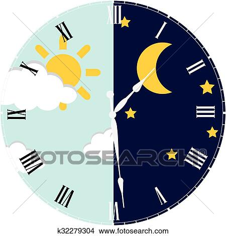clipart of clock day and night concept k32279304 search clip art rh fotosearch com night sky clipart free christmas night sky clipart