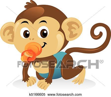 Cute Macaco Bebe Com Um Pacifier Em Um Rastejar Pose