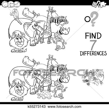 - Differences Game With Safari Animals Coloring Book Clipart K55273143  Fotosearch