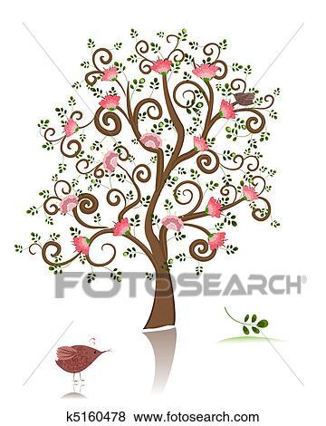 Clipart - fleurir, décoratif, arbre k5160478 - Recherchez des ... on