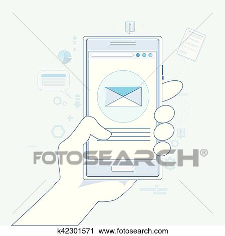 Hand Cell Smart Phone Envelope Send Business Mail Clipart