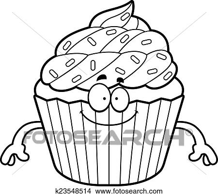 Happy Cartoon Cupcake Clipart K23548514