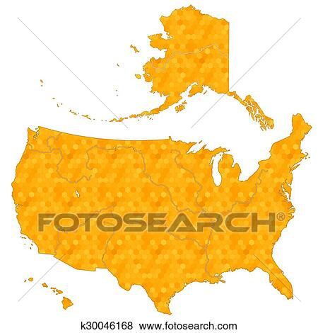 Clip Art Of Honeycomb Map Of Usa Eps K30046168 Search Clipart