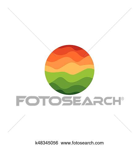 Isolated Abstract Orange And Green Color Round Shape Logo On