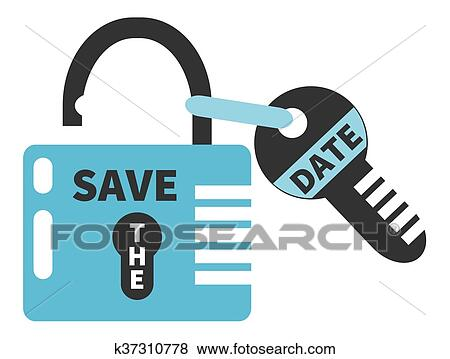 clip art key and opened padlock with words save the date fotosearch search
