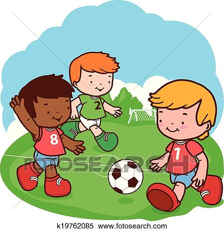 Kids playing soccer Clipart | k19762085 | Fotosearch
