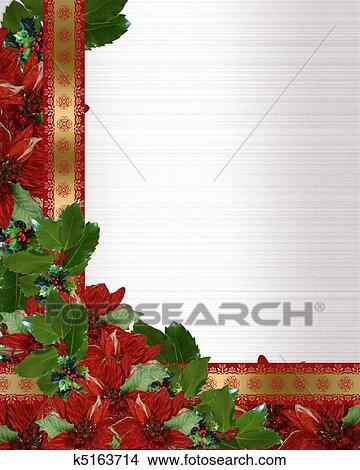 Navidad Acebo Flor De Nochebuena Frontera Dibujos K5163714