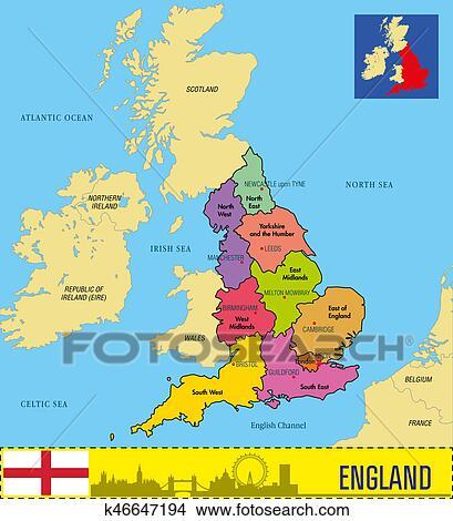 Carte Dangleterre.Politique Carte De Angleterre A Regions Et Leur Capitaux