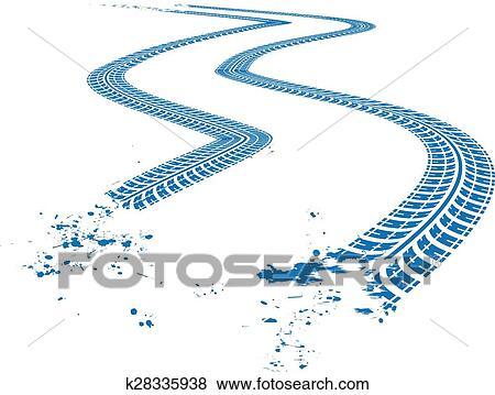 clip art of tire tracks k28335938 search clipart illustration rh fotosearch com tire tracks clipart vector motorcycle tire tracks clipart
