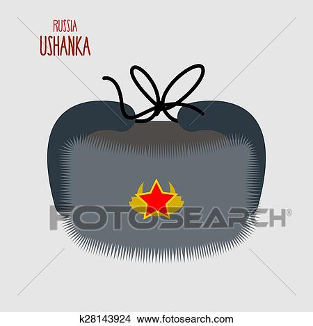 Clipart - Ushanka. National cap of military in Russia. Vector illustration.  Fotosearch - 8141004225da