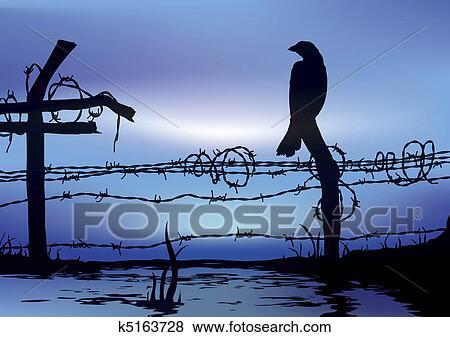 Bilder Vogel Stehen Auf Leitung Zaun K5163728 Suche