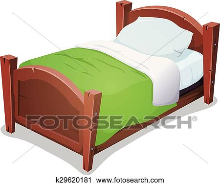 wood bed with green blanket clipart k29620181 fotosearch. Black Bedroom Furniture Sets. Home Design Ideas