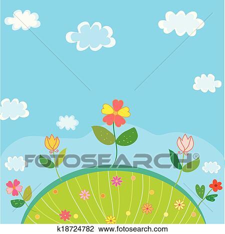 かわいい 風景 ために 子供 で 花 そして 空 クリップ