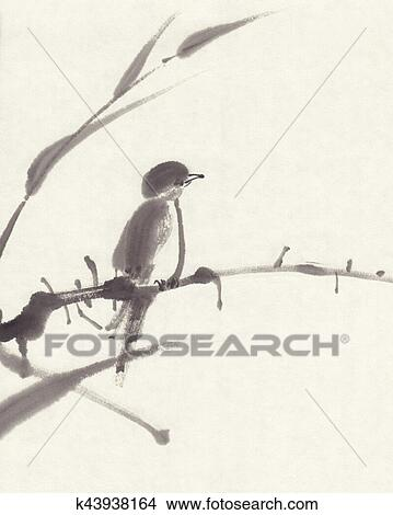 stock photo of bird sumi e ink painting k43938164 search stock