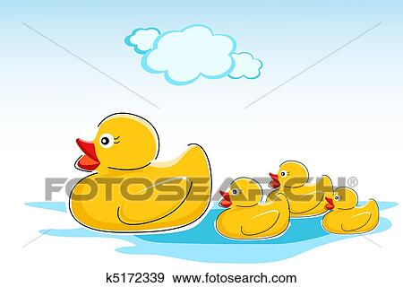 Canards Dans Eau Clipart K5172339 Fotosearch