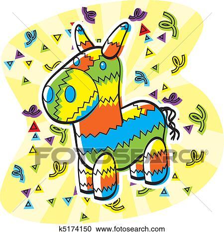 clipart of cartoon pinata k5174150 search clip art illustration rh fotosearch com pinata clipart cute pinata clip art free