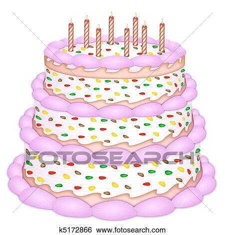 Outstanding Decorative Birthday Cake Clip Art K5172866 Fotosearch Funny Birthday Cards Online Inifodamsfinfo
