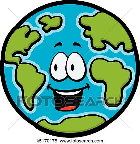 A Cartoon Planet Earth Smiling And Happy.