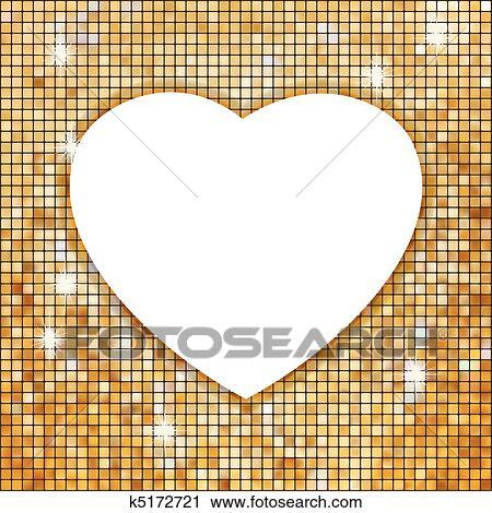Gold, rahmen, in, dass, form, von, heart., eps, 8 Clipart ...