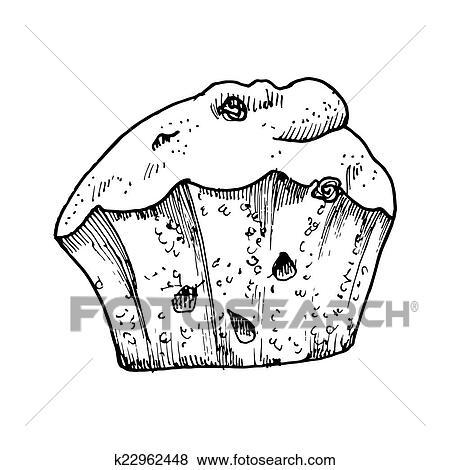 Stock Illustration Kuchen Mit Rosinen Und Aquarell Skizze