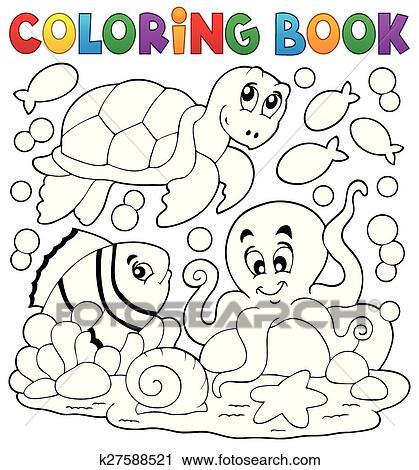 Clipart - libro colorear, con, animales de mar, 5 k27588521 - Buscar ...