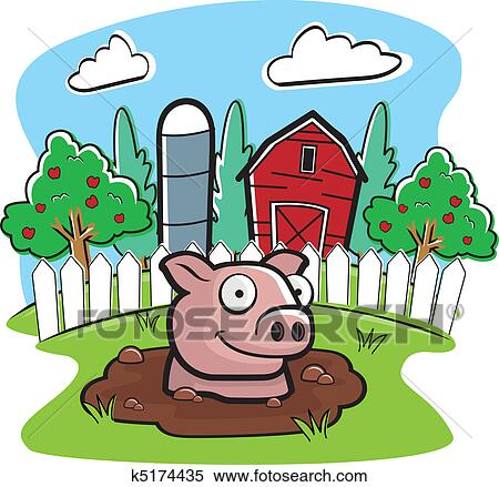 A Cartoon Pig On Farm In Mud