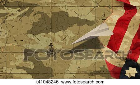 eb8dd9b6a6e1 Stock Illustration - Usa Flag and Paper Airplane. Fotosearch - Search Clip  Art