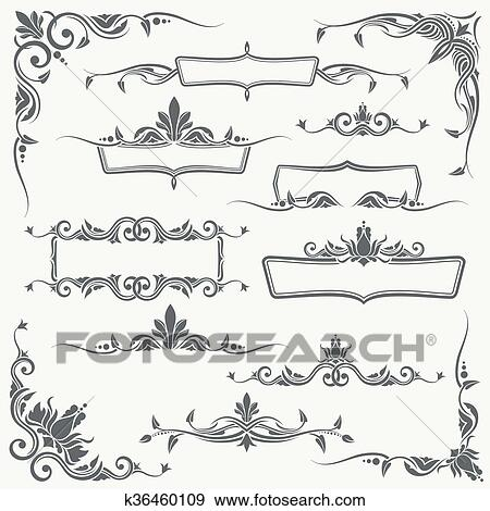 Clip Art Of Vintage Frames Corners And Dividers With Decorative