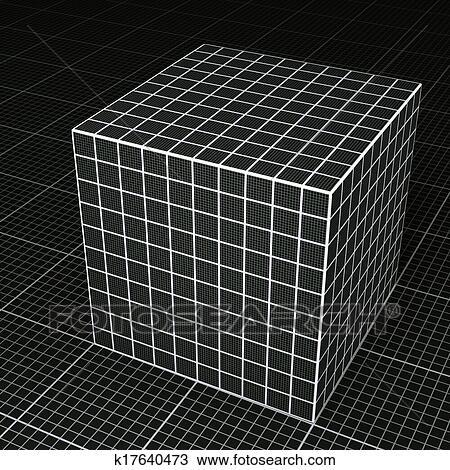 drawing of black grid paper cube on black grid paper floor k17640473